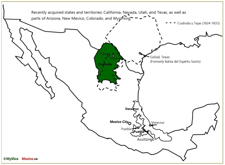 MAP 3 US States, Veracruz, PUEBLA, Coahuila and Tejas, Coahuila and Mexico City