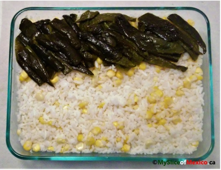 Mexican white rice with corn and poblano strips My Slice of Mexico