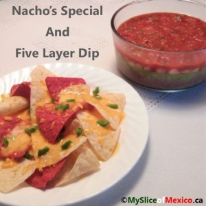 Nachos and layer dip cover my slice of mexico