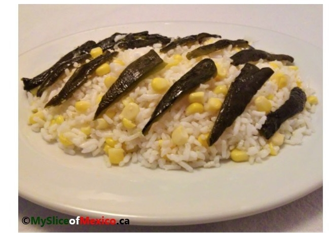 White Rice with Corn and Poblano Strips