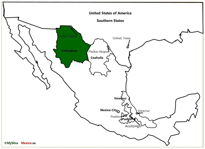 MAP 5 Chihuahua, US States, Veracruz, PUEBLA, Coahuila and Mexico City