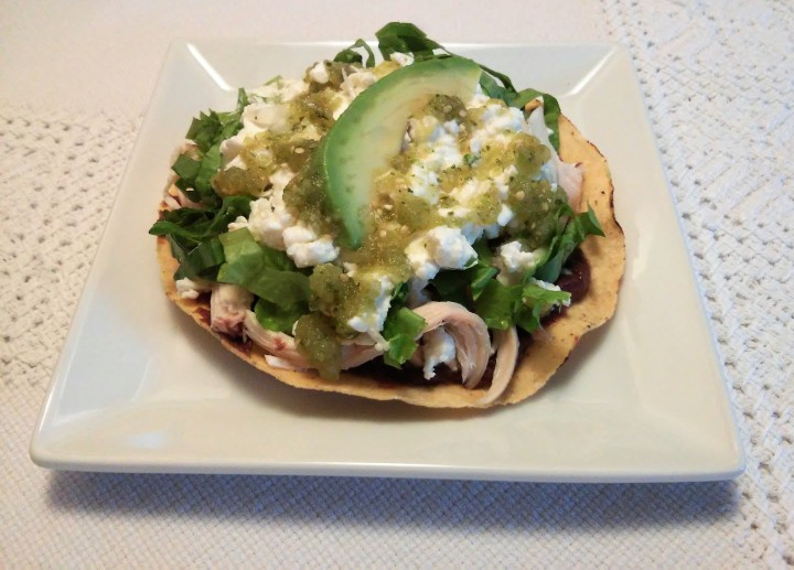 Bean (and Chicken) Tostadas