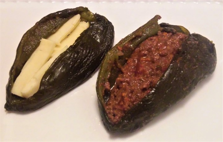 Stuffed poblano peppers cheese and picadillo