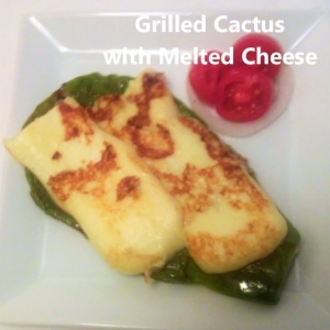 grilled cactus with melted cheese
