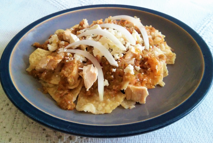 green chilaquiles with chicken