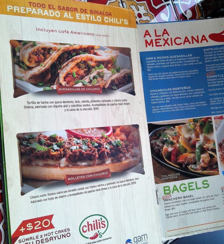 chili's menu with chilorio