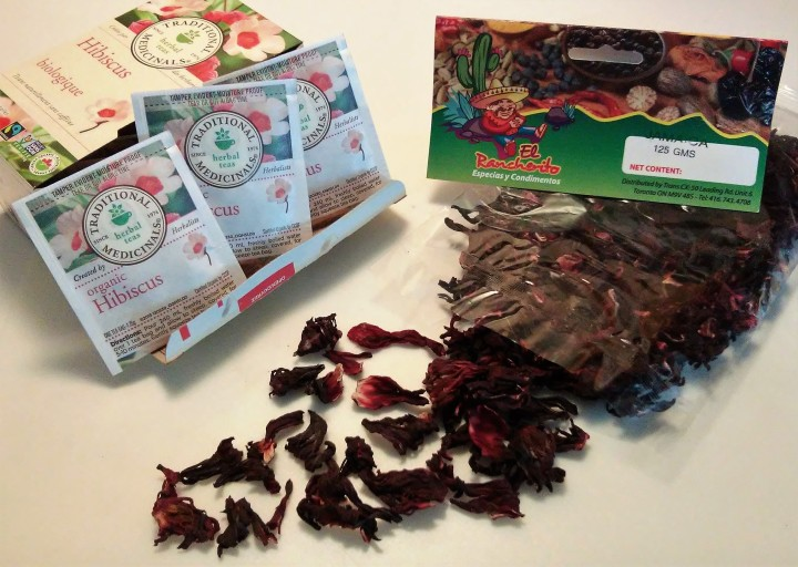 Hibiscus dry flowers and tisane envelopes