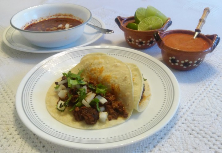 Tacos de Birria and Spicy Salsa
