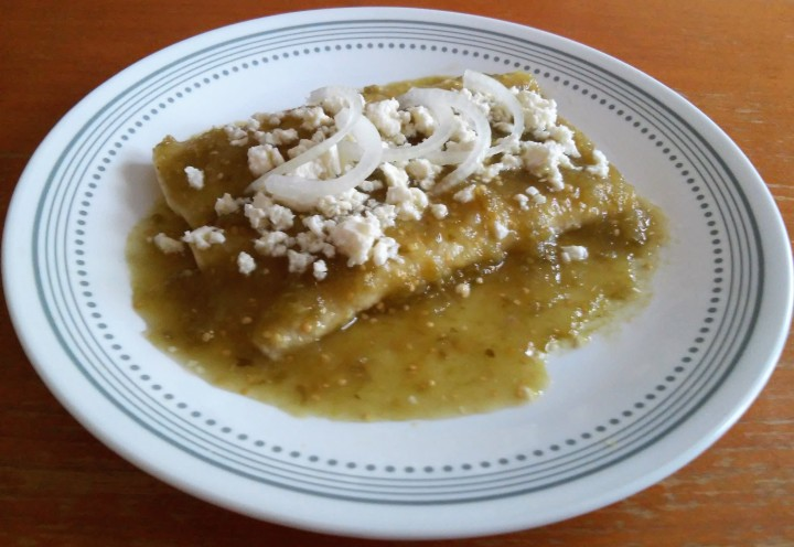 Basic green sauce enchiladas