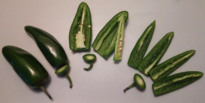 slicing jalapenos