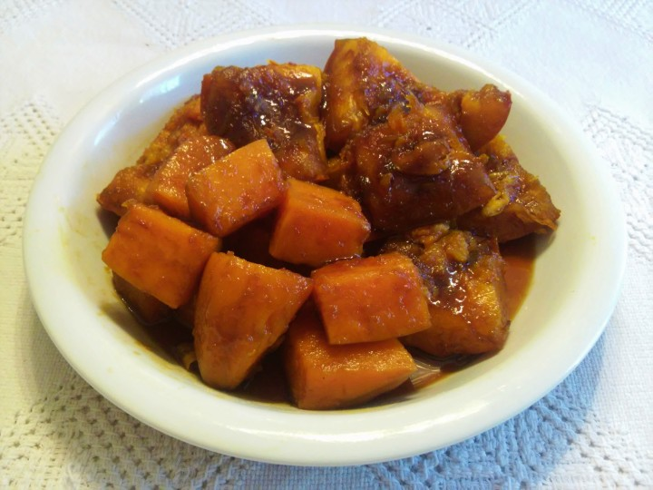 sweet potato and pumpkin in syrup
