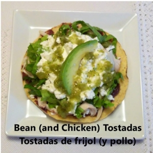 bean and chicken tostadas