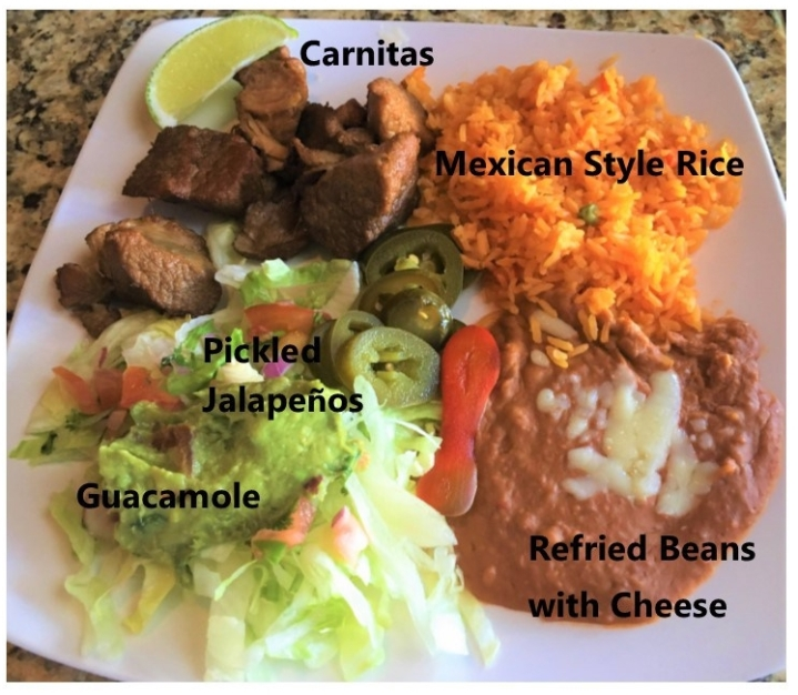 Labelled carnitas platter