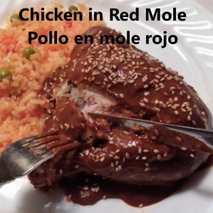 chicken in red mole with mexican style rice