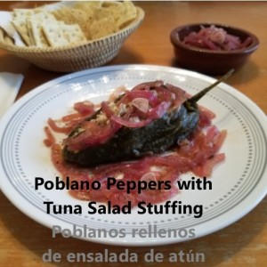 Poblano peppers stuffed with tuna salad cover