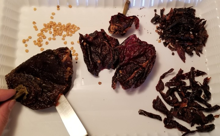 009 cleaning and prepping ancho peppers