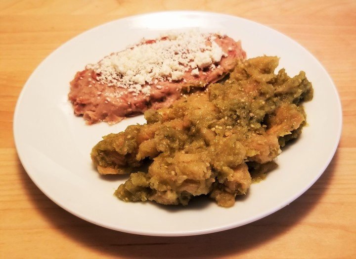 004 pork rinds in green sauce with refried beans.jpg