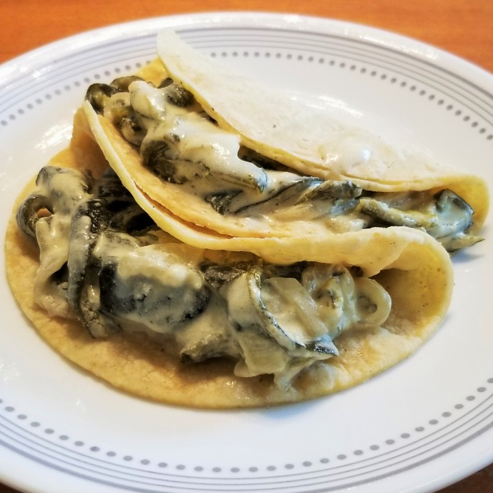 005 poblano strips with cream in tacos