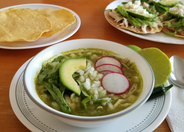 014 Pozole verde with Chicken tostadas