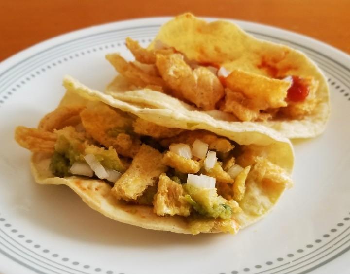 crispy pork rind tacos