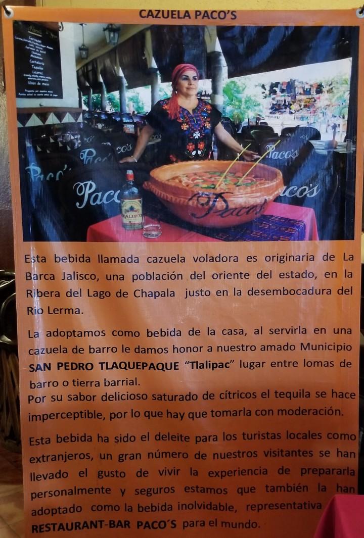 011 poster cazuela voladora Restaurant Paco's at El Parian