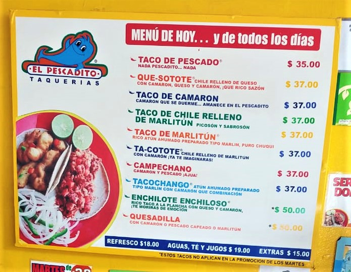 001 El Pescadito menu