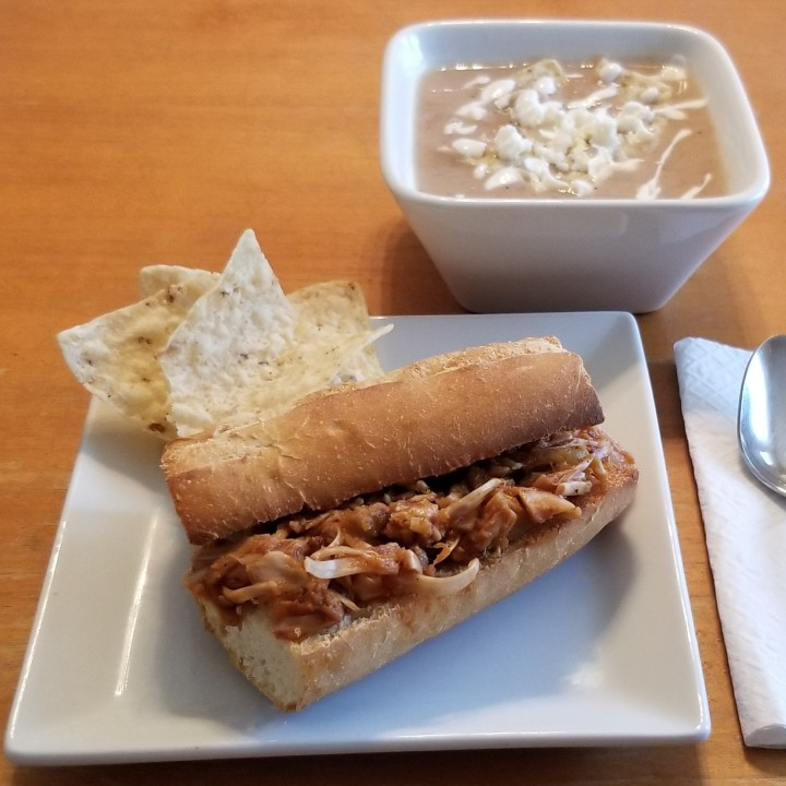 012 BBQ jackfruit sandwich and Bean Soup