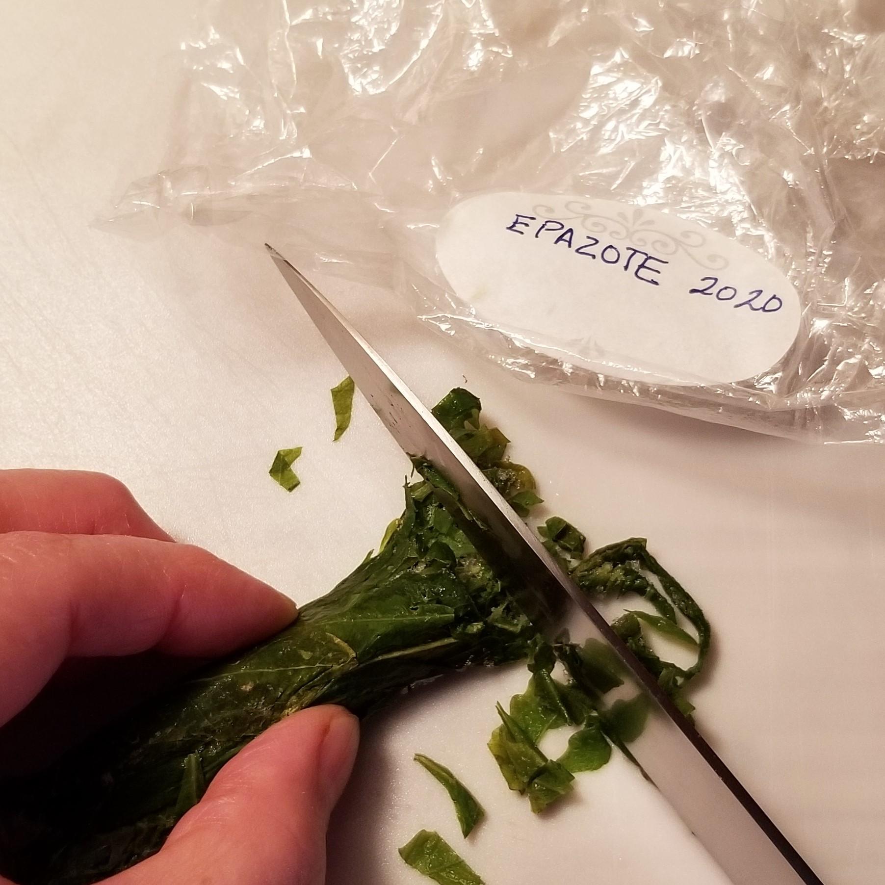 017 slicing frozen epazote